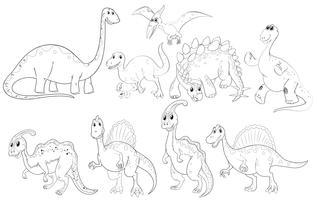 Diferentes tipos de dinossauros vetor