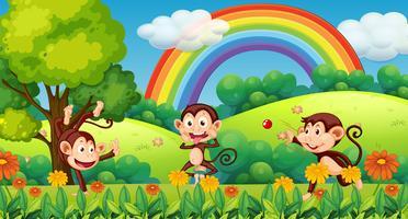 Macaco brincando na floresta vetor
