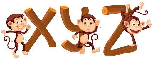 Alfabeto Macaco e Madeira vetor