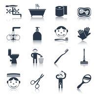 Higiene ícones preto