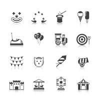 Parque de diversões ícones preto