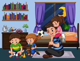 Papai e três filhos no quarto à noite