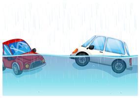 Carros flutuando na inundação