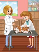 Veterinário e cão na clínica vetor