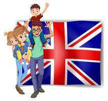 Família britânica e bandeira no fundo