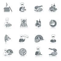 conjunto de ícones de fabricante de pizza