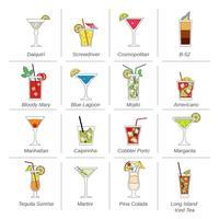 Álcool Cocktails ícones linha plana