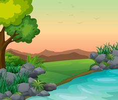Cena, com, rio, e, montanhas vetor