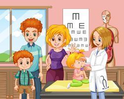 Uma família e um bebê um hospital vetor