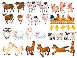 Muitos tipos de animais de fazenda vetor
