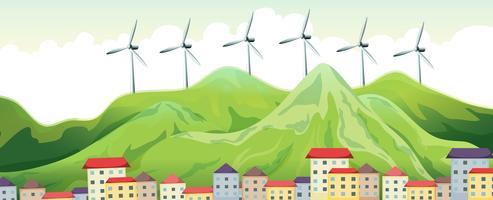 Turbinas eólicas no topo das montanhas vetor