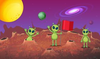 Três alienígenas explorando o novo planeta vetor