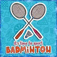 Fundo de desenho de badminton vetor