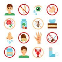 Conjunto de ícones de alergia vetor
