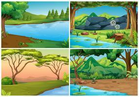 Quatro cenas de florestas vetor