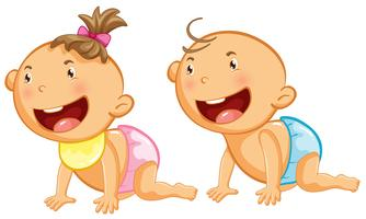 Bebê menino e menina com um grande sorriso vetor