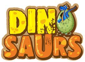 Projeto de fonte para palavra dinossauro com dinossauro no ovo vetor