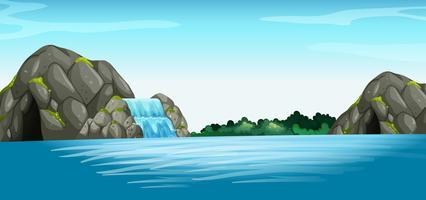 Cena, com, cachoeira, e, caverna vetor