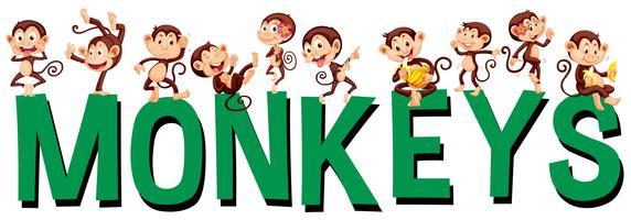Design de fonte com macacos de palavra vetor