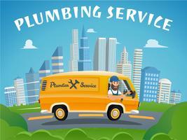 Serviço de encanamento Car Fast Ride to Delivery Plumber vetor