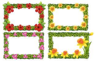 Modelo de quadro com flores coloridas vetor