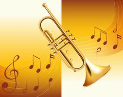 Trompete e notas musicais no fundo vetor