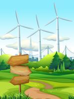 Cena, com, turbinas, em, a, campo vetor