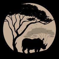 Fundo de silhueta com rinoceronte debaixo da árvore vetor