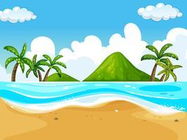 Cena de fundo com praia e mar vetor
