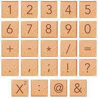 Número e ícone de matemática no bloco de madeira vetor