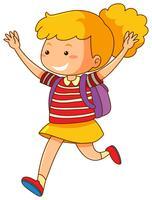 Garota feliz com backback roxo vetor