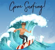 Homem, surfando, em, oceânicos vetor