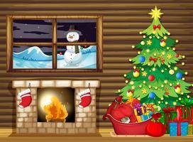 Dentro da casa de log no inverno