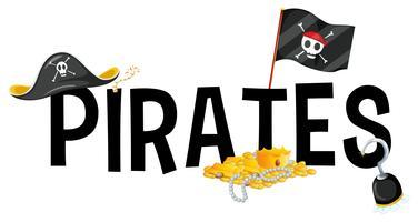 Design de fonte com piratas de palavra vetor