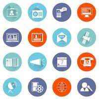 Conjunto de ícones de mídia plana