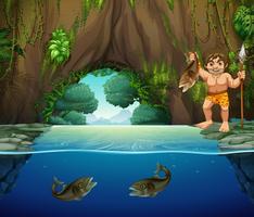 Um homem das cavernas pegando peixes grandes vetor