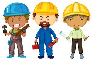 Três homens com empregos diferentes vetor