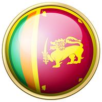 Bandeira do Sri Lanka no botão redondo vetor