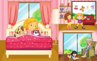 Crianças fazendo atividades diferentes em casa vetor