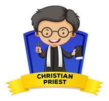 Design de etiquetas com padre cristão vetor