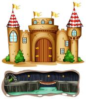 Um castelo e cave subterrânea de dragões vetor