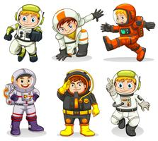 Conjunto de personagem de astronauta vetor