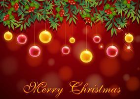 Modelo de cartão de Natal com bolas vermelhas e amarelas vetor