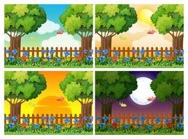 Quatro cenas de jardim em diferentes momentos vetor