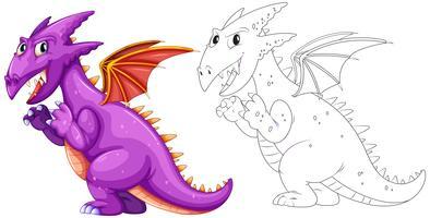 Contorno animal para dragão com asas vetor