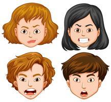 Pessoas com diferentes emoções faciais vetor