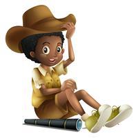 Menino americano africano, em, safari, equipamento, com, telescópio vetor
