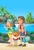 Viagem em família com os pais e a criança na praia vetor