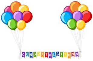 Projeto de plano de fundo com balões e parabéns de palavra vetor
