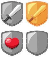 Elemento de jogo de escudo de espada vetor